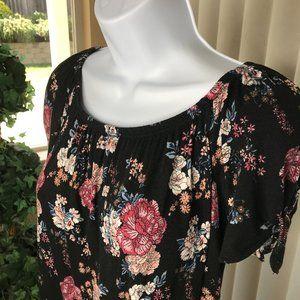 PINK REPUBLIC S/S Floral Blouse   Black/Pink   XS